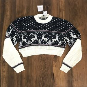 NWT UO Vintage Fair Isle Deer Cropped Sweater